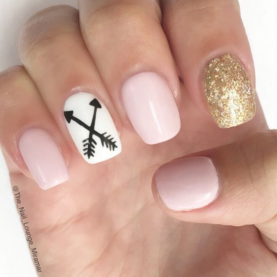 Pink-Gold | Awesome Spring Nails Design for Short Nails Simple Summer Nail  Art I ... #awesome #design #nails #short #simple #spring - Pink-Gold Nail Art For Short Pinterest Nail Art Designs, Nails