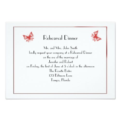 Butterfly Rehearsal Dinner Cards Persimmon Butterfly Heart Wedding Rehearsal Dinner Card