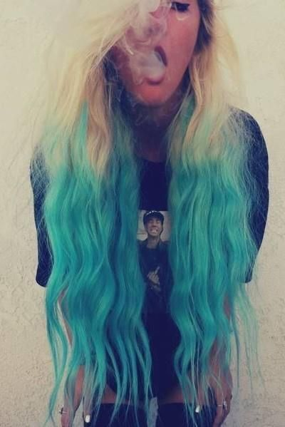 Beautiful Turquoise Ombre Hair With