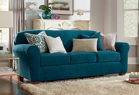 Ultimate Stretch Chenille Four Piece Sofa Slipcover Form Fitting