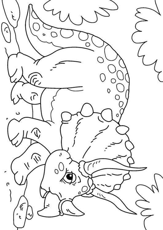 Malvorlage Dinosaurier   Triceratops. Bilder für Schule und
