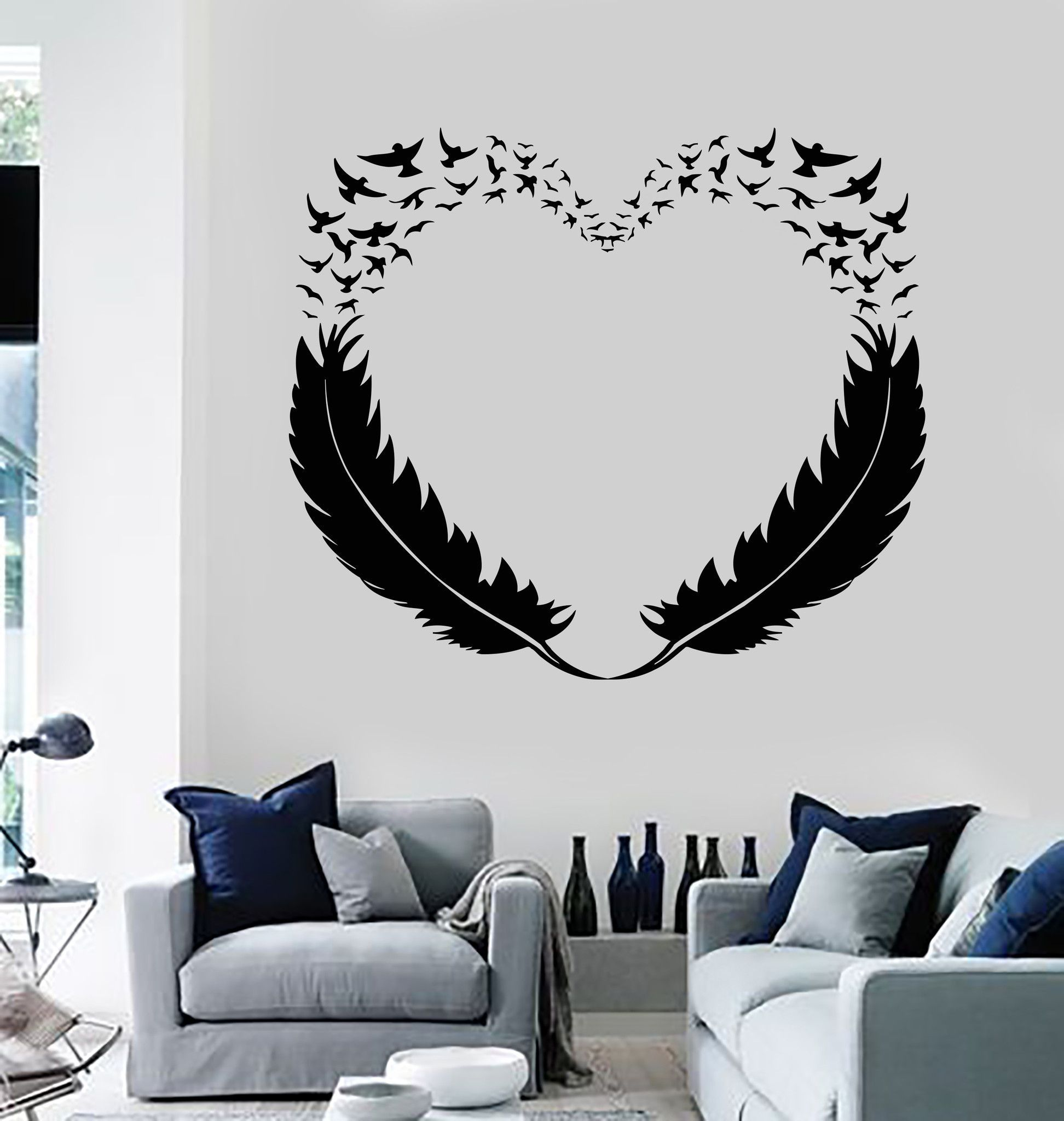 Vinyl Wall Decal Feathers Heart Decor Love Birds Romantic Stickers ...