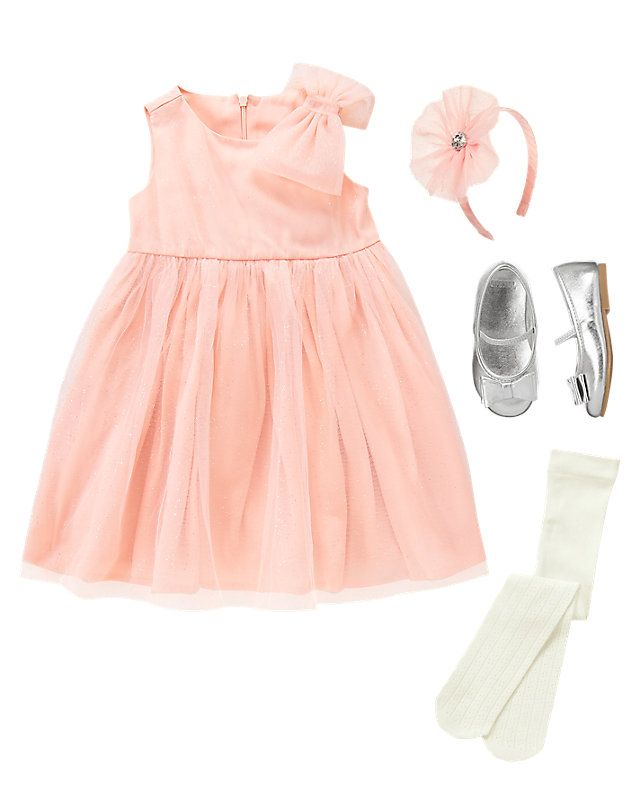521397c7a67fe Girly Twirl Little Girls Party Outfit Pink Dress, Silver Flats ...