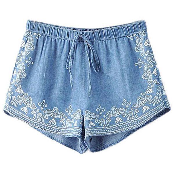Chicnova Fashion High Waist Drawstring Denim Shorts (43.950 COP) ❤ liked on Polyvore featuring shorts, bottoms, short, high waisted short shorts, high-waisted shorts, high-waisted jean shorts, high waisted jean shorts and high rise jean shorts