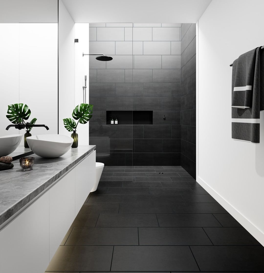 Tile Mountain On Instagram Ultimate Colour Combinations Our Top Favourite Monochrome Th Modern Bathroom Tile Black Tile Bathrooms Black Bathroom Floor