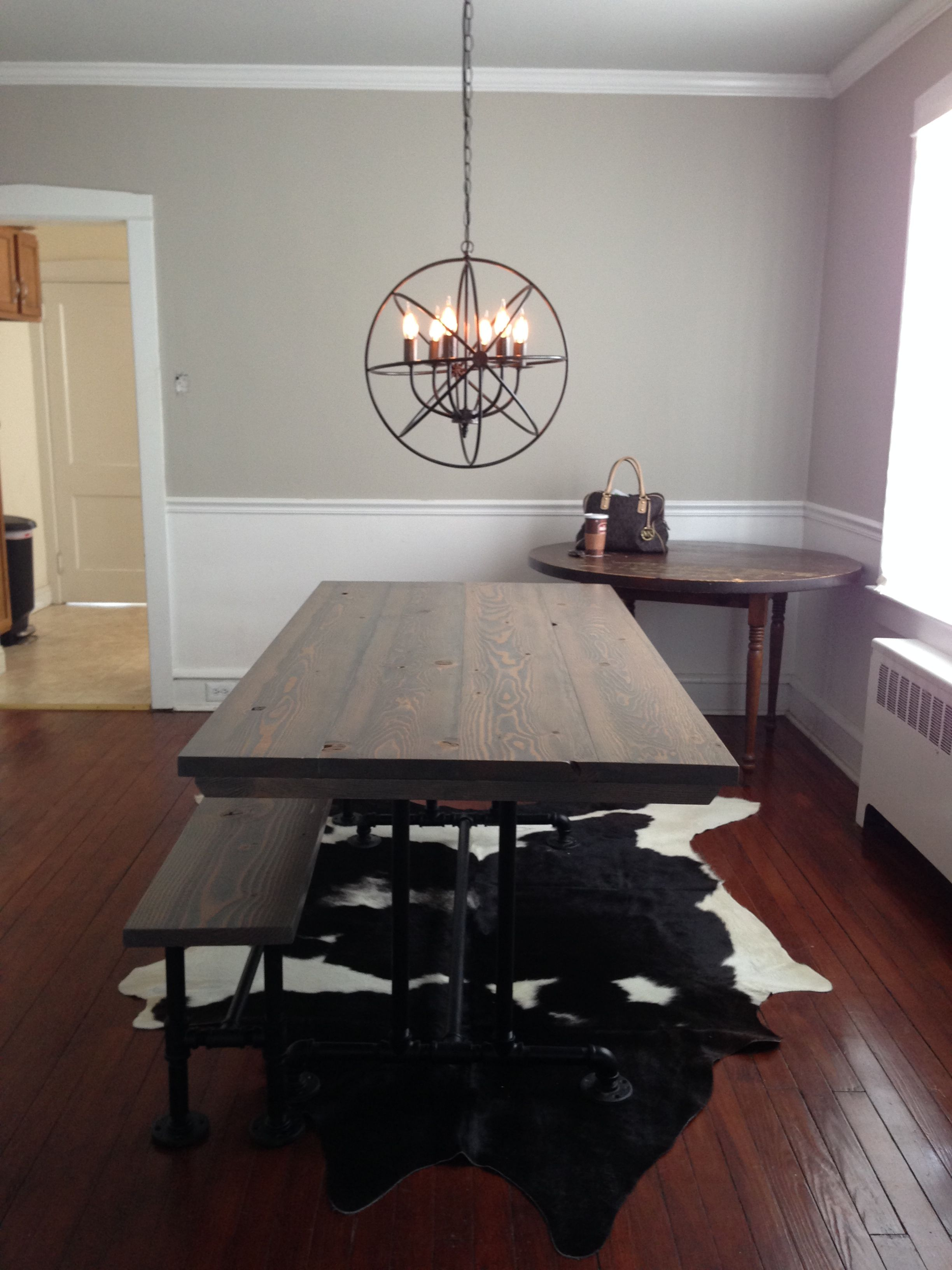 Industrial Style Table Top Stained Classic Grey Cowhide Rug Bench Solid