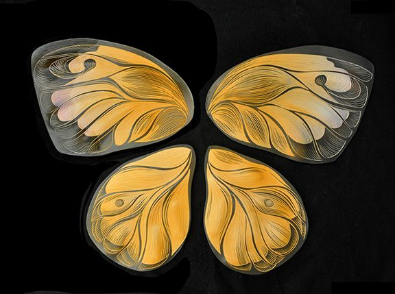 Sulphur, a butterfly native to CA. handmade, sgraffito-carved ...