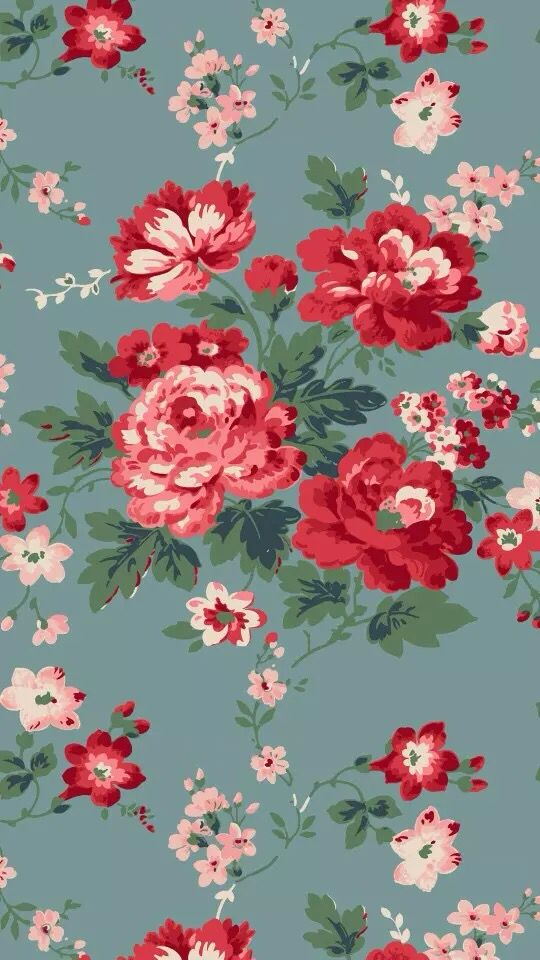 Blue Grey Red Pink Vintage Floral Flowers Iphone Background