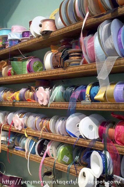 Very Merry Vintage Syle: Organizing Ribbon {The Perfect Craft Room Idea}