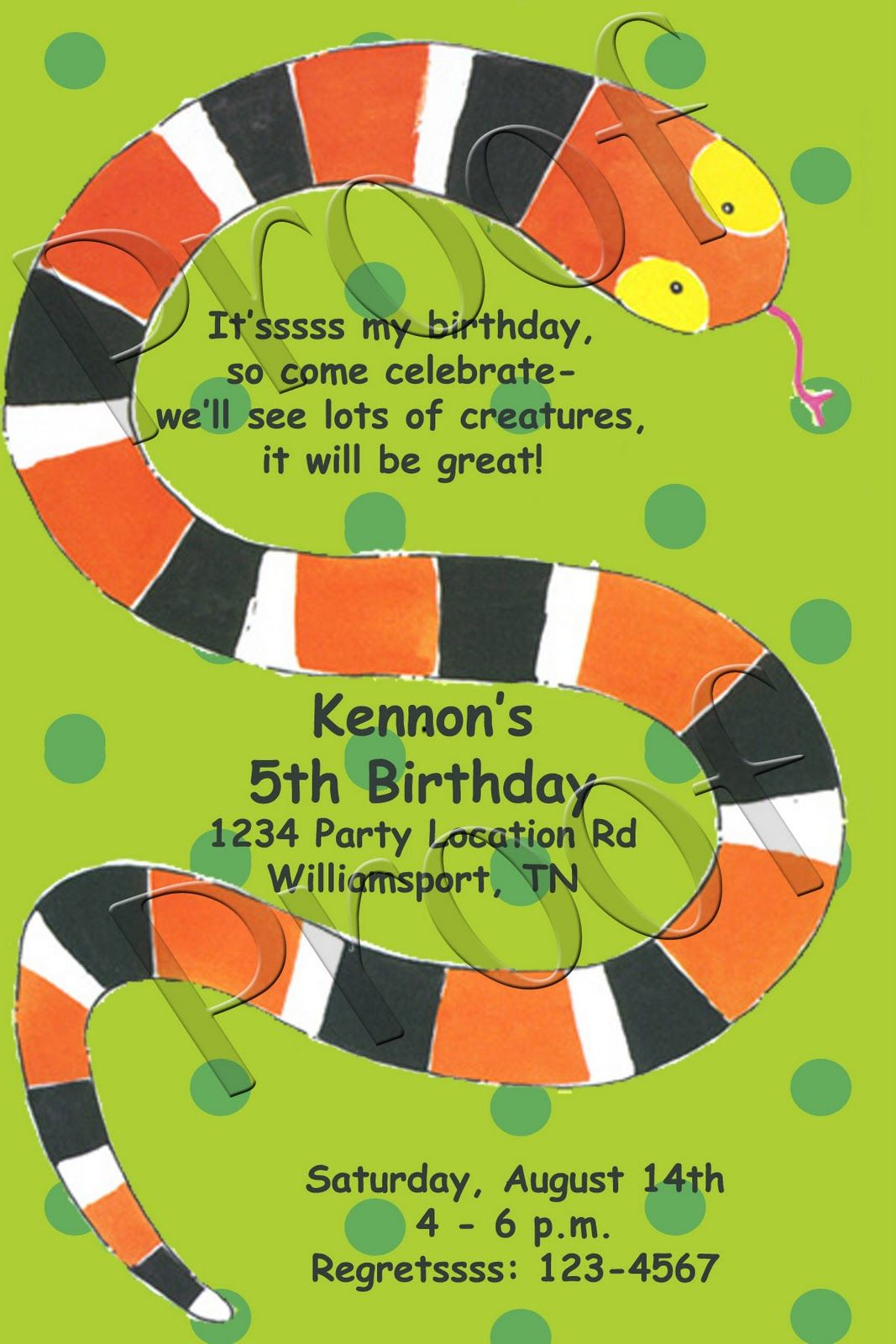 Fanci Prints by Tiffany: Snake Party Invitation | Dean\'s Bday Ideas ...