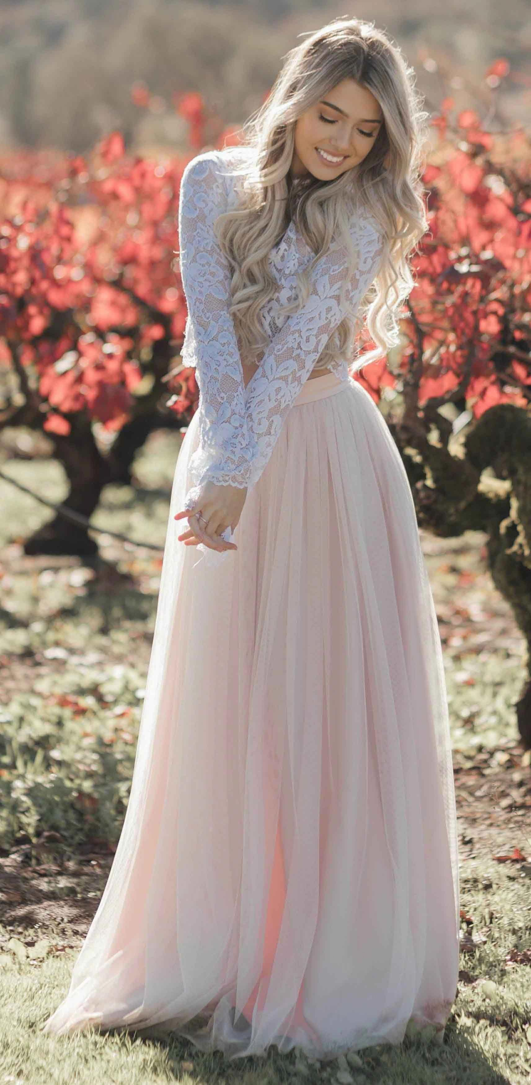 Blush Pink Wedding Dresses Country Weding Dresses Bohemian Wedding Dress Rust Long Sleeve Wedding Dress Lace Blush Wedding Dress Lace Beach Wedding Dress Boho