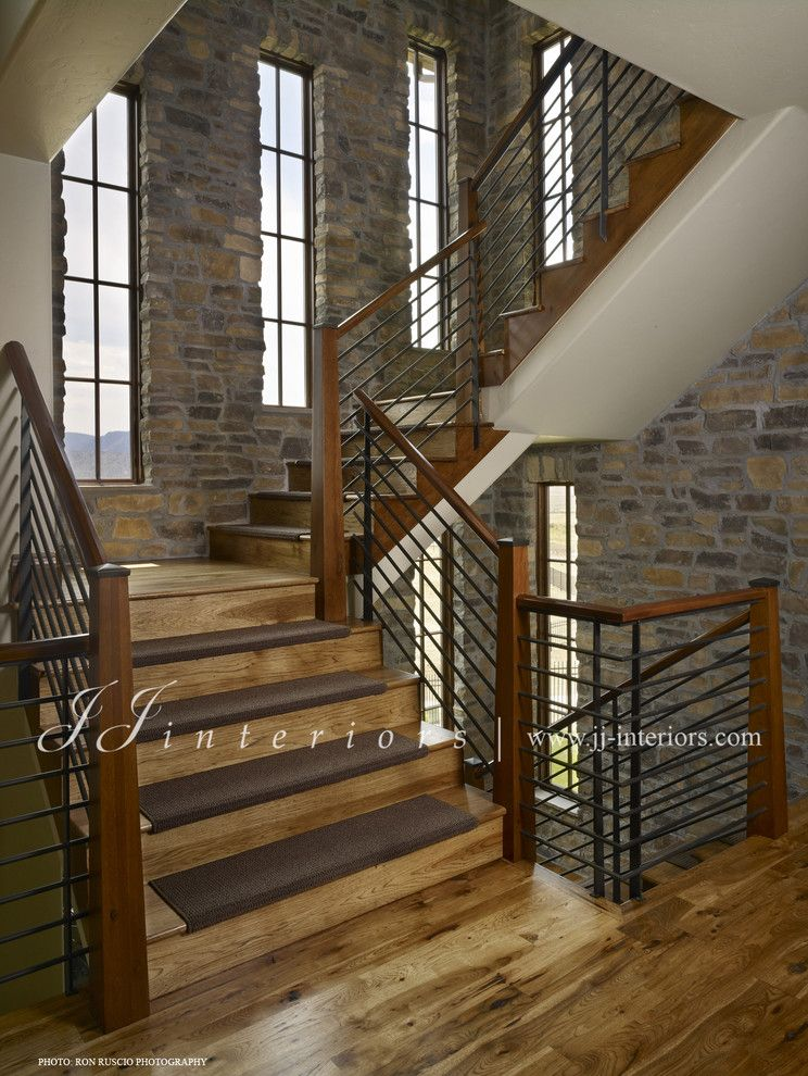 Beautiful Carpet Stair Treads In Staircase Contemporary With Iron Wood  Railing Next To Rustic Stair Railing Alongside Carpet On Stair And Stair  Treads