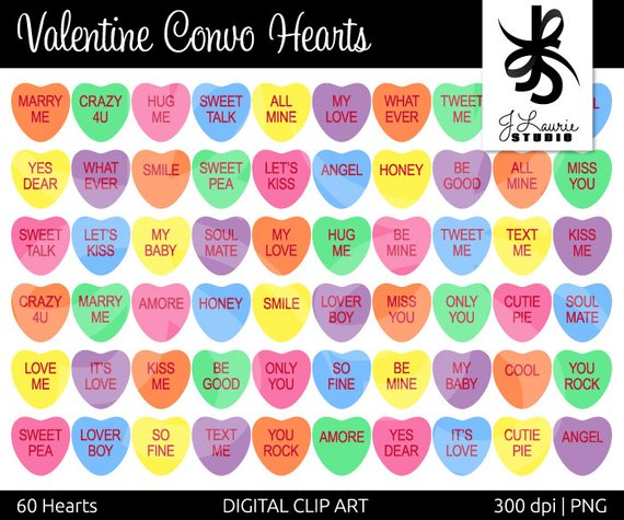 Digital Clipart Hearts Valentine Convo Hearts Conversation Etsy In 2021 Valentine Sweetheart Candy Heart Candy