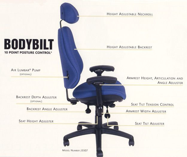 Bodybilt Ergonomic Office Chairs Pinched Sciatic Nerve Relief