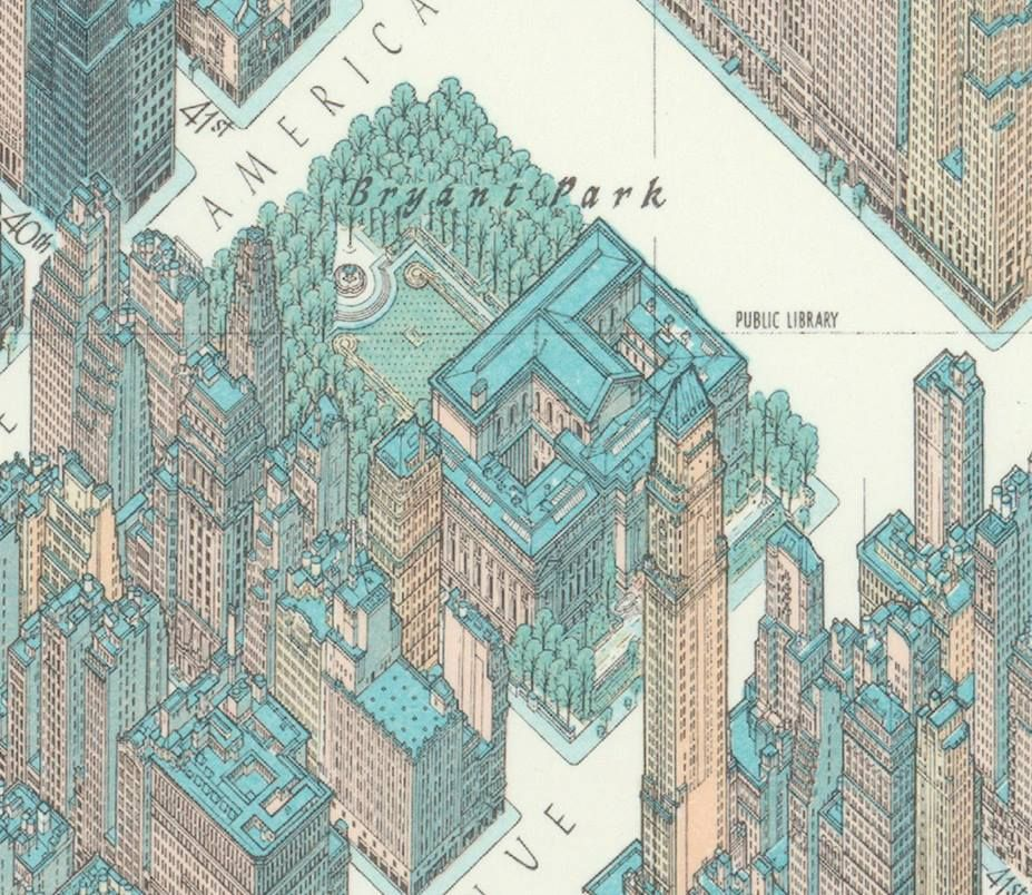 Bryant park in hermann bollmanns 1963 axonometric map of new york bryant park in hermann bollmanns 1963 axonometric map of new york city malvernweather Images