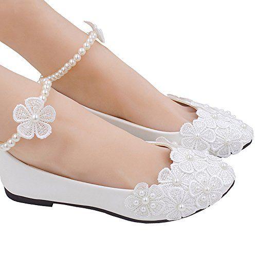6908f5ffea0a iBinGo Women s Mary Jane Lace Flowers Flats Pearls Across... https