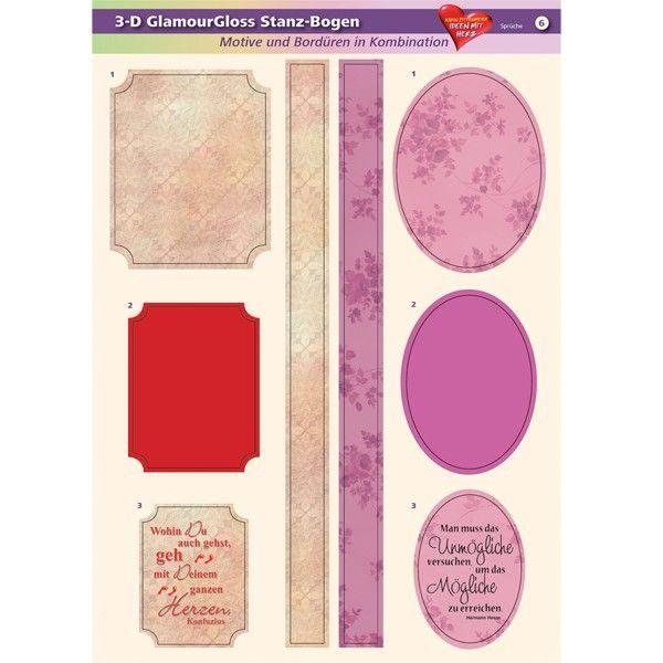 3-D GlamourGloss Bogen, Sprüche, Din A4, Motiv 6