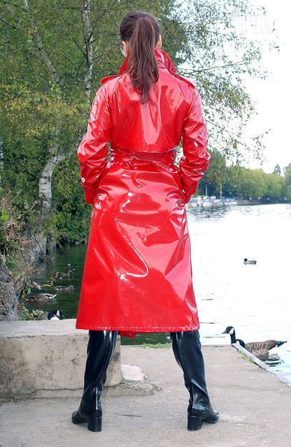 Shiny Red Pvc Trench Coat Spy Princess 010 Imperm 233 Able Rouge