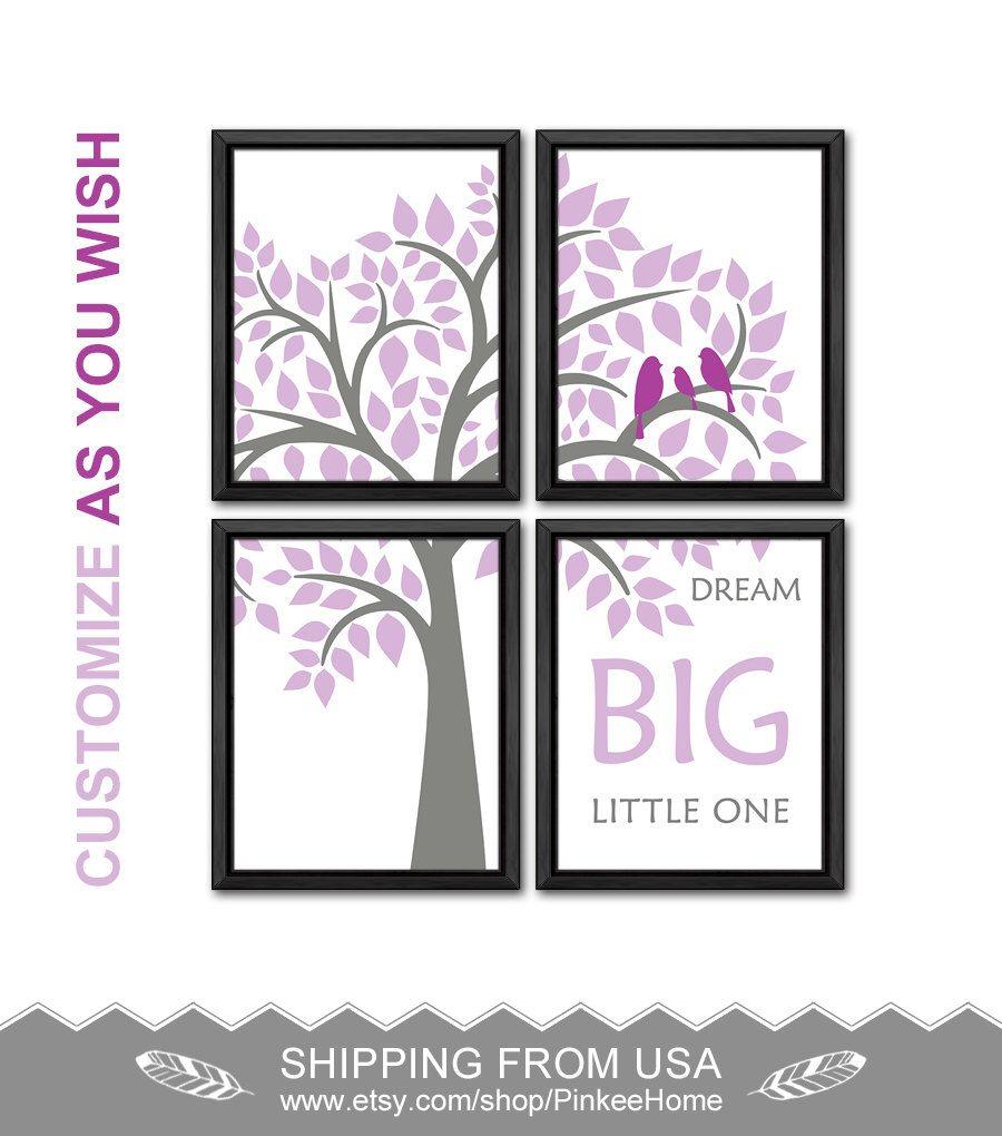 Dream big girl nursery decor purple gray birds and tree nursery wall