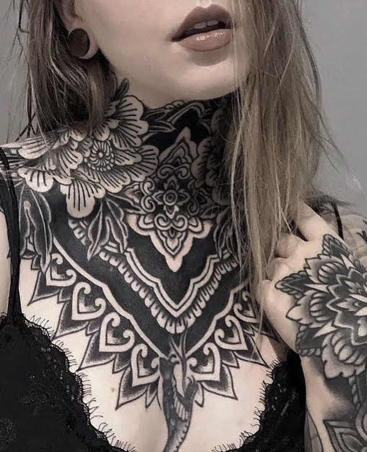 Pin by Ash VanWey on My Style in 2020 | Neck tattoos women, Chest piece tattoos, Throat tattoo
