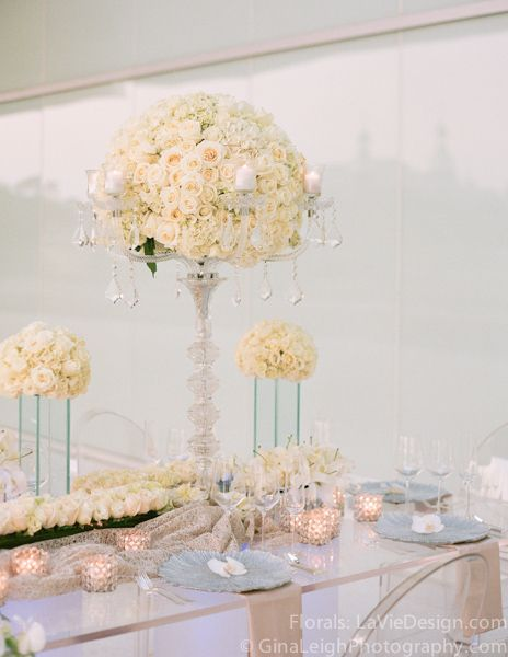 Crystal Candelabra With Tall Floral Arrangement And A Mix
