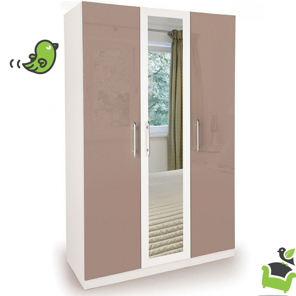 Connect Camden High Gloss Mocha 3 Door Wardrobe With Mirror White Mirrored Wardrobe Tall Cabinet Storage High Gloss