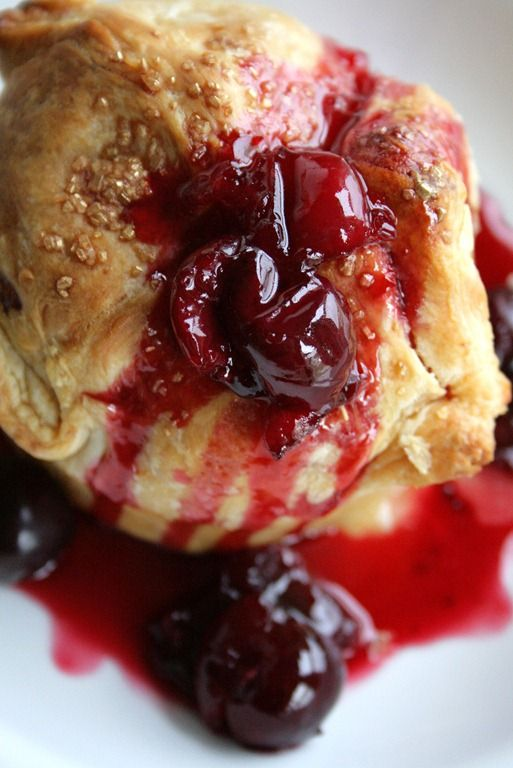 Peach Dumplings with Sweet Cherry Sauce by Doughmesstic