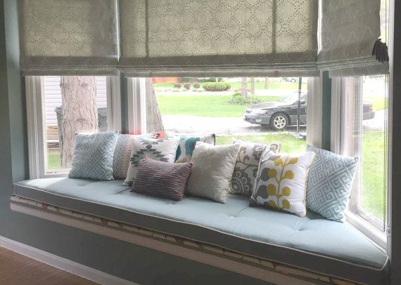 Custom Sewn Trapezoid Bay Window Seat Cushion With Cording Playroom Nursery Bench Chair P