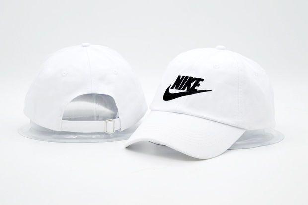 White NIKE Embroidered Baseball Cap Hat