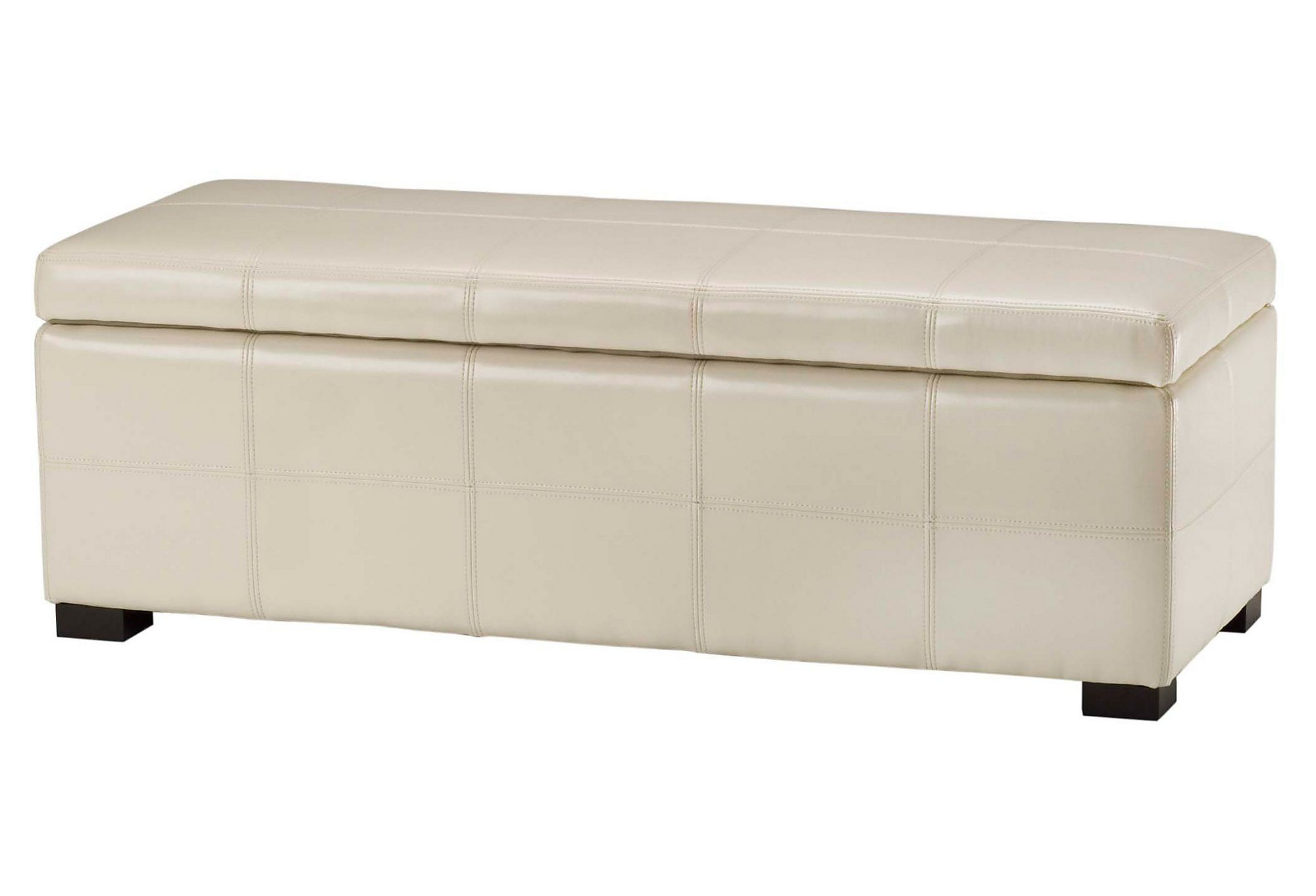 One Kings Lane   Chalet Chic   Large Mae Storage Ottoman, Cream