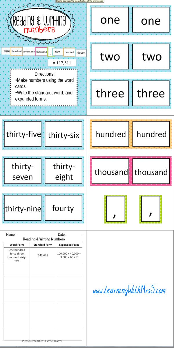Reading And Writing Numbers I Will Use This Math Game In Guided