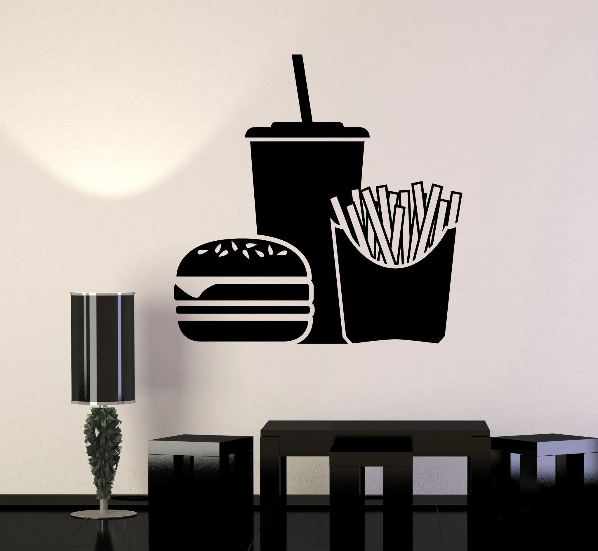 Vinyl Wall Decal Fast Food Hamburger Soft Drink Stickers Unique - Where to get vinyl stickers made