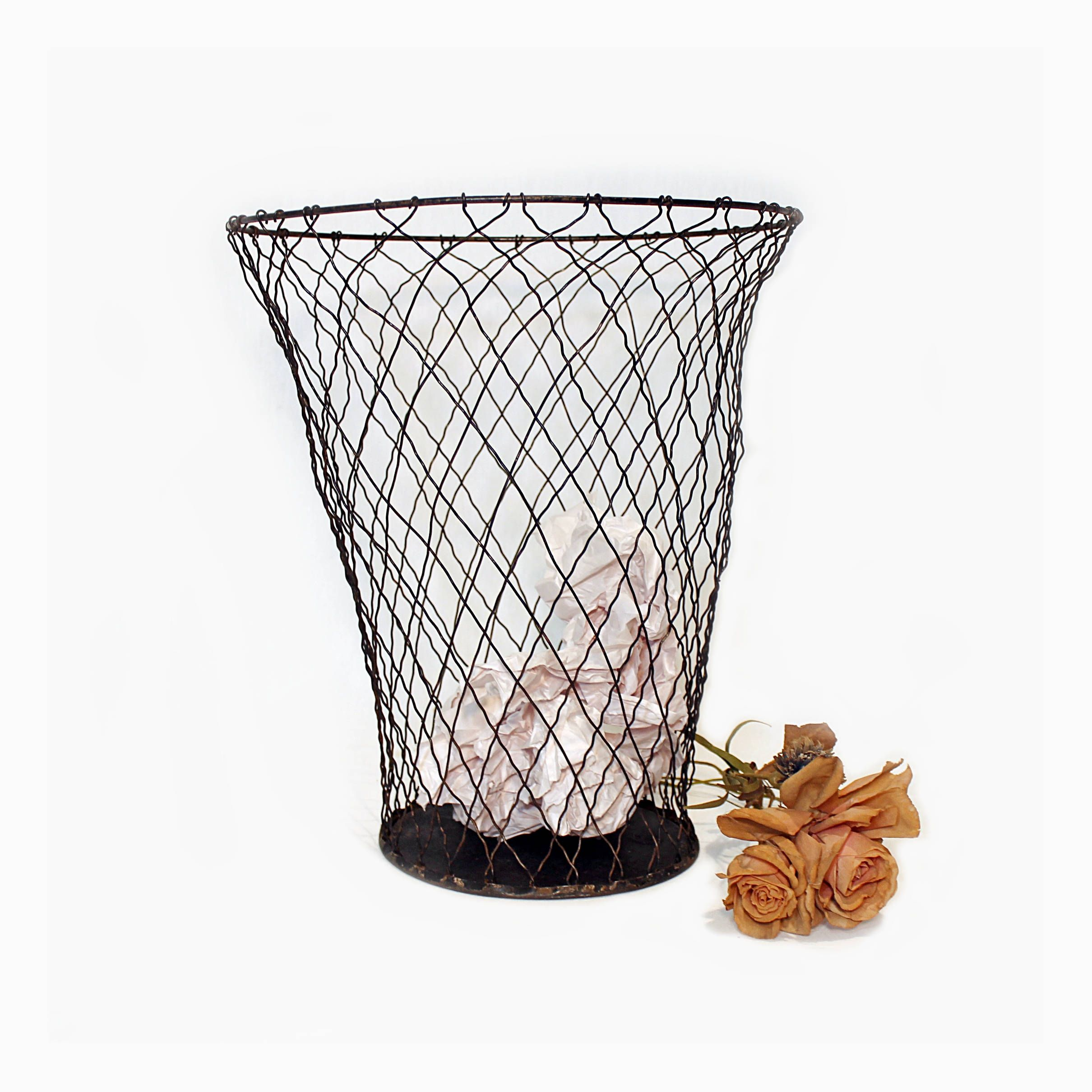 Antique Wire Waste Basket - Metal Wire Trash Can - Industrial Decor ...