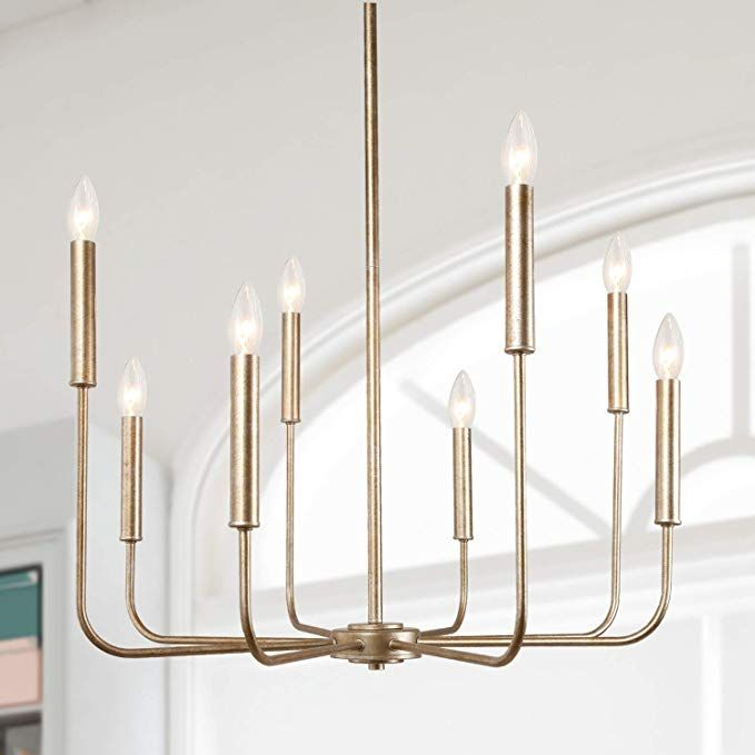 15 High End Contemporary Dining Room Designs: LALUZ Champagne Gold 8-Light High End Modern Chandelier