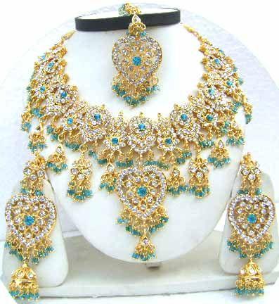 Gold Diamond Bollywood Costume Jewelry Set JVS-36 $79.99