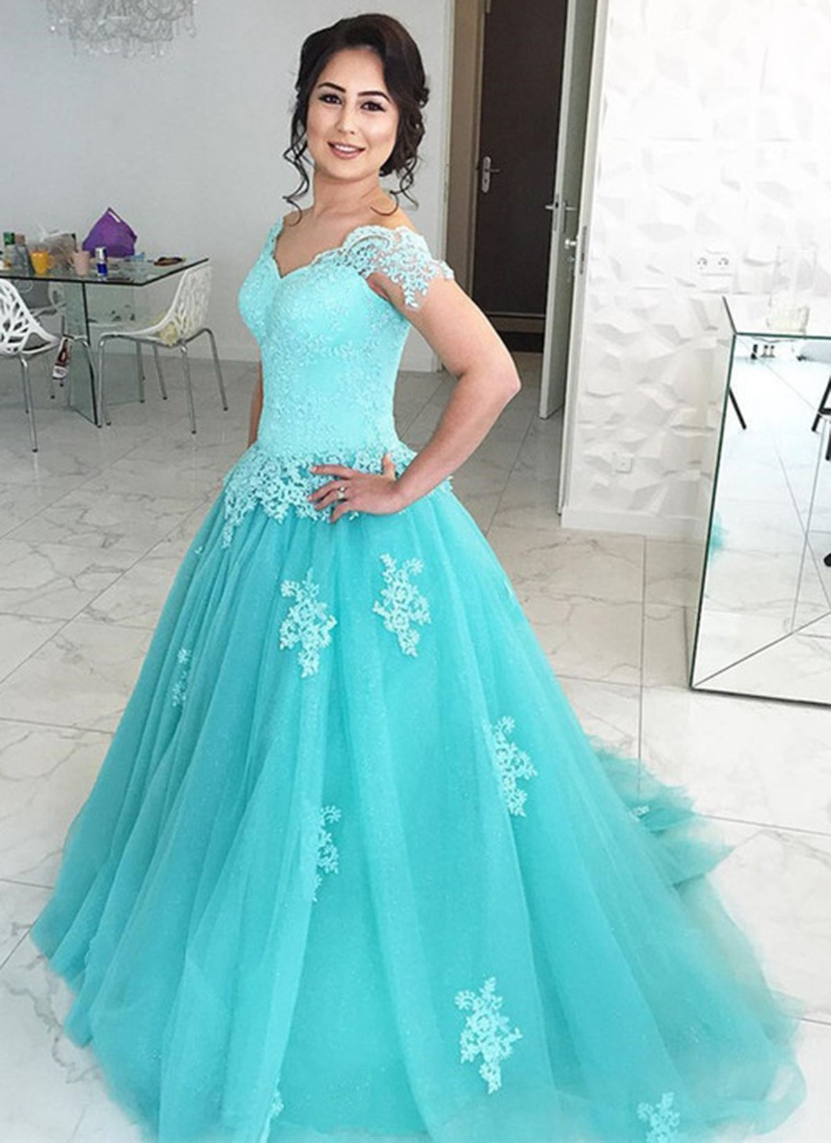 Beautiful mint lace tulle long evening gowns #prom #promdress ...