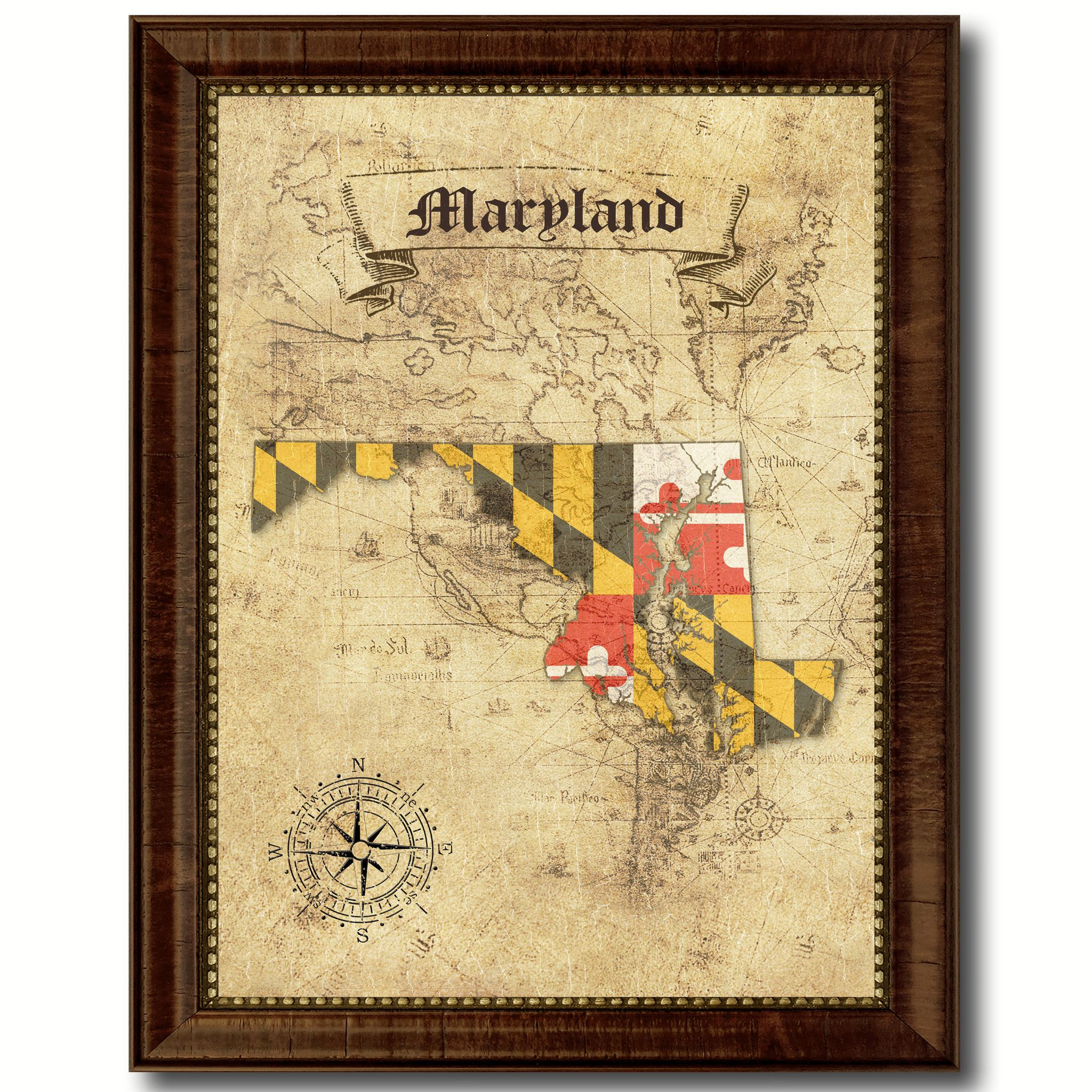 Maryland State Vintage Map Home Decor Wall Art Office Decoration ...