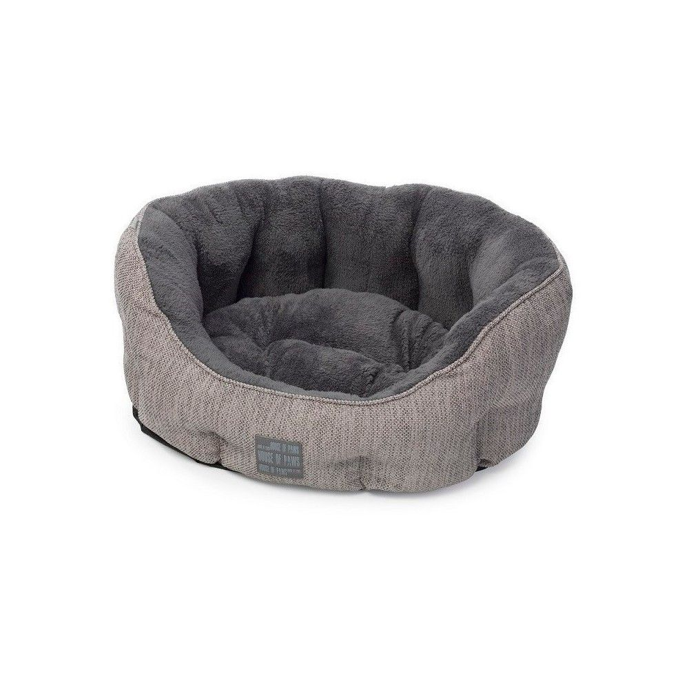 House Of Paws Grey Hessian Oval Pet Bed Small Dog Bed Dog Bed