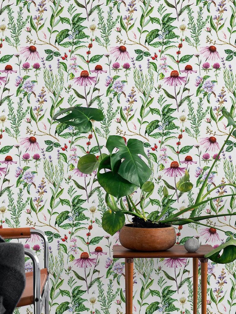 Botanical Floral Wallpaper, Herbal Removable Wallpaper