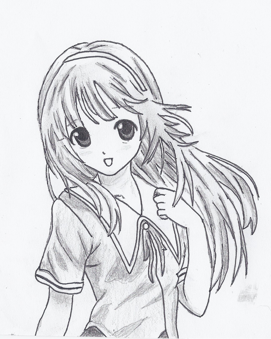 Аниме картинки девочки карандашом