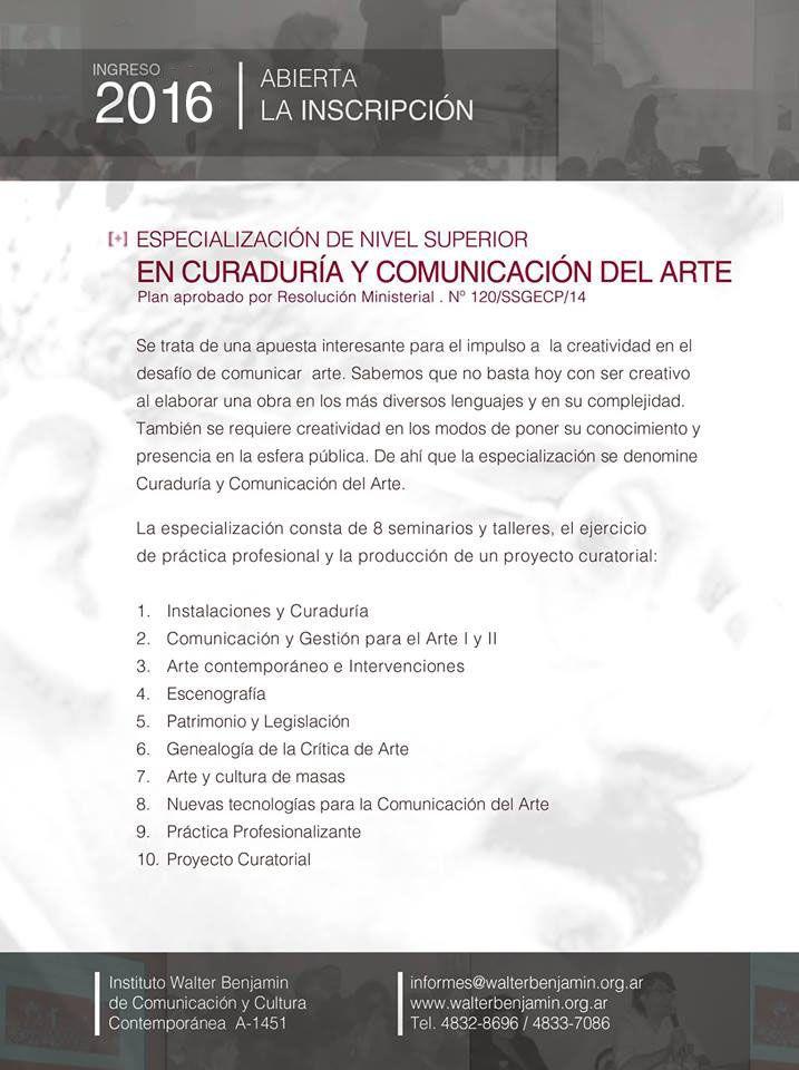 Especialización de nivel superior  Curaduría y Comunicación del Arte