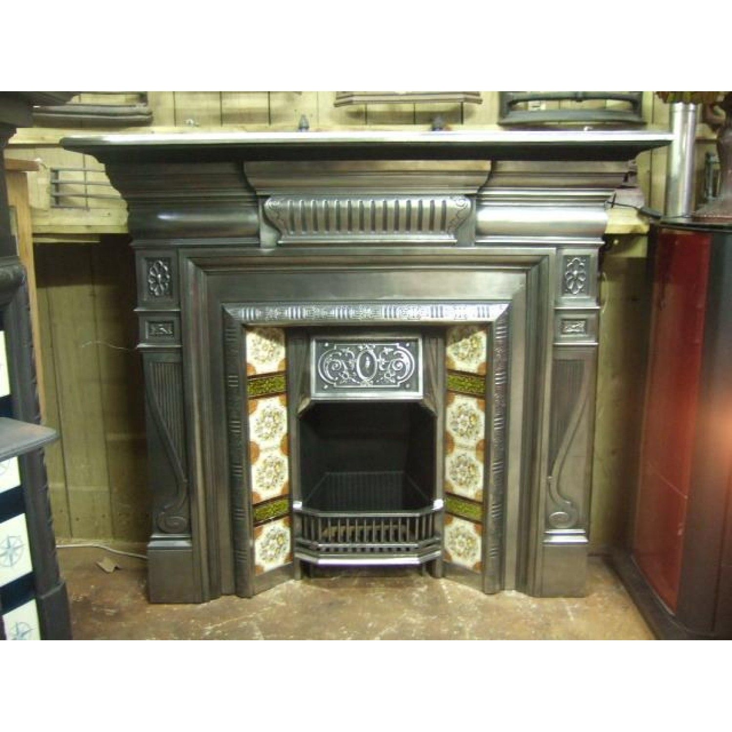 271ti polished victorian fireplace insert making fire with