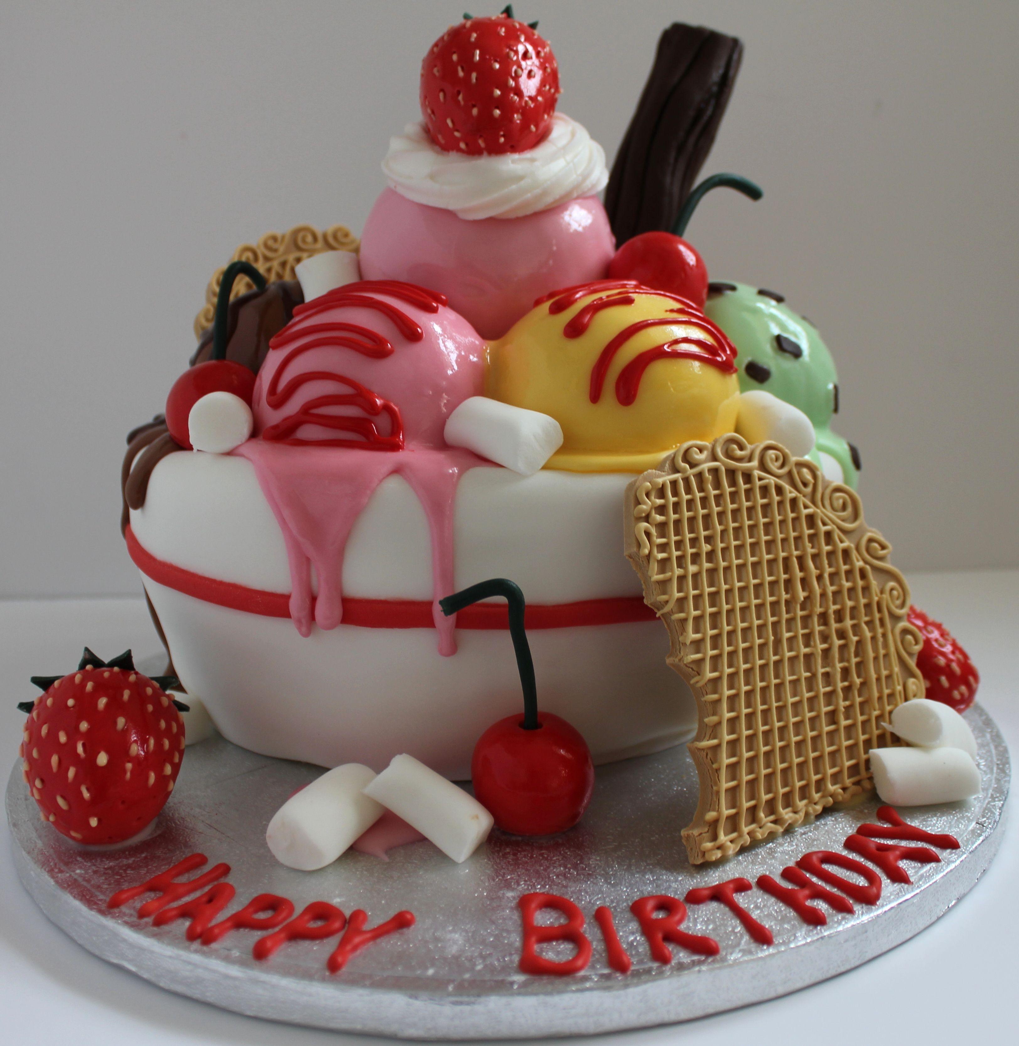 An Icecream Sundae Birthday Cake! Follow Me On Facebook...Pauls Creative Cakes Or Www