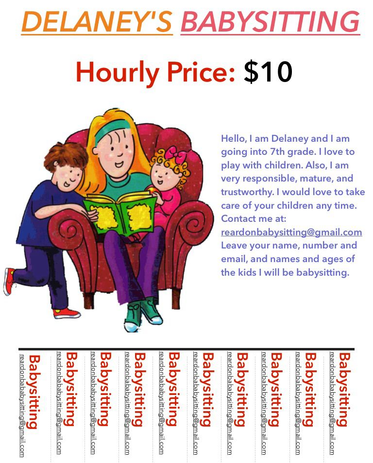 Hey here is my flyer email me at reardonbabysitting if u need a - babysitting flyer template
