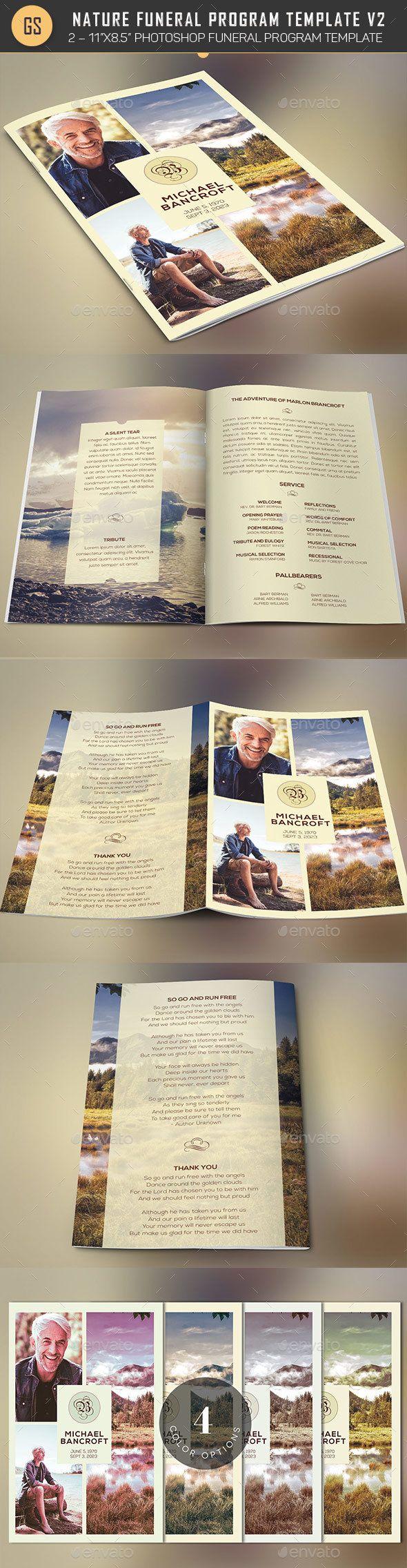 Nature Funeral Program Photoshop Template V Funeral Brochures - Informational brochure template