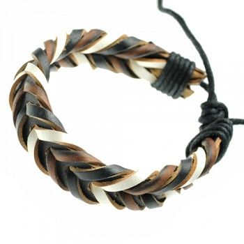 Black Brown and White Braided Leather Bracelet