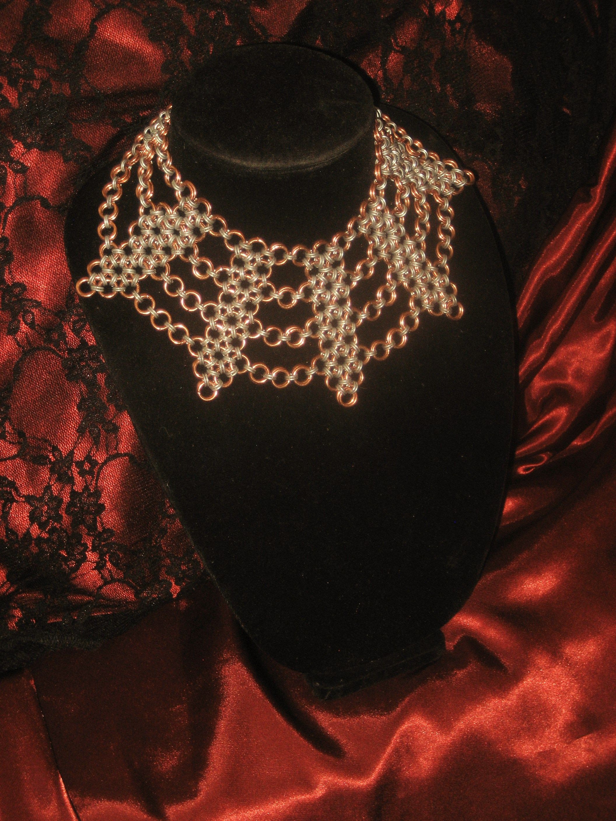 chain maille copper and steel choker/ chain maille necklace www.facebook.com/debosjewlery