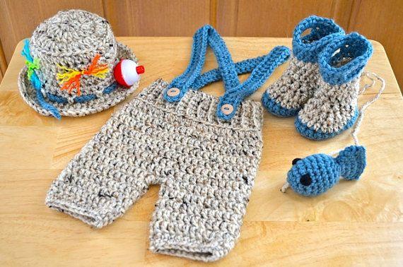 270fdab00 CROCHET PATTERN Newborn Baby Fishing/Fisherman Set - Fishing Hat ...