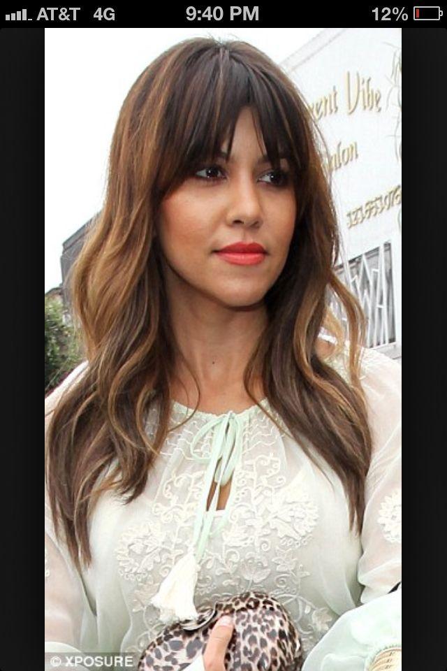 Square Bangs Red Rogue Salon Long Hair Extensions Hair Styles Kourtney Kardashian Hair