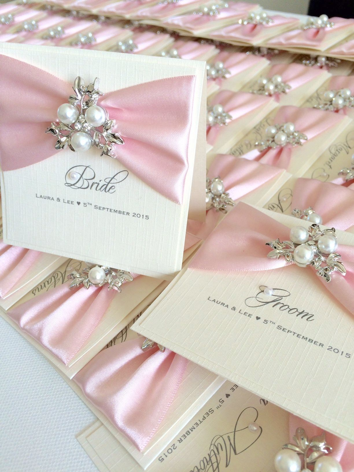 beautiful vintage pearl place name settings decorated with